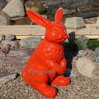 Osterhase groß rot Figur Außendekoration Hase Garten Ostern