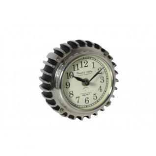 Tisch Uhr Kaminuhr aus Metall in Zahnradoptik