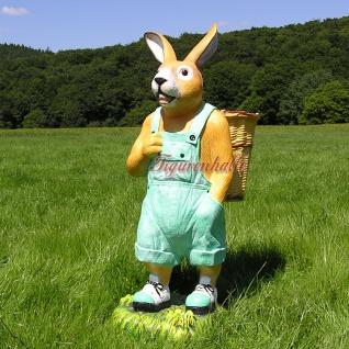 Osterhase Ostern Deko-Figur Gartenfigur Statue grüne Latzhose