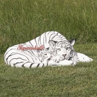 Tiger liegender Position weißer Dekofigur Lebensgroß Tiga Aufstellfigur