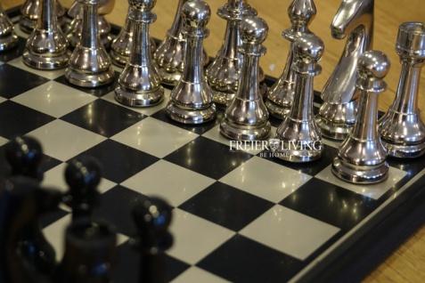 Aluminium Schachspiel edel Metall Luxus Deko Home Interiors Rivera - Vorschau 4