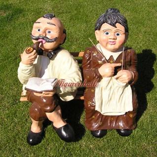 Oma & Opa Rentner auf Bank Gartenfigur Garten Deko Dekoration