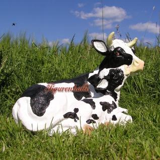 Kuh mit Kalb als Figur Statue schwarz gefleckt Garten Deko