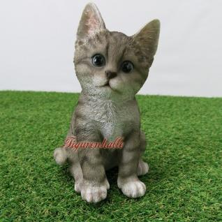 Katze grau getiger muster sitzend Kringeln gestromt Figur Statue Skulptur Fan Deko.