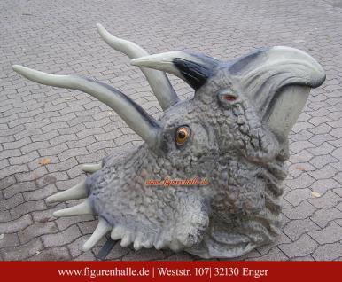 Dinosaurier Triceratops Dreihorn Kopf Uhrzeit Figur StatueDekofigur