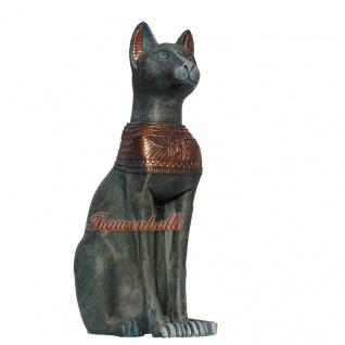 Ägyptische Katze Bastet Göttin Ägyptische bronze Optik Figur Statue Skulptur Gotheit Deko neu