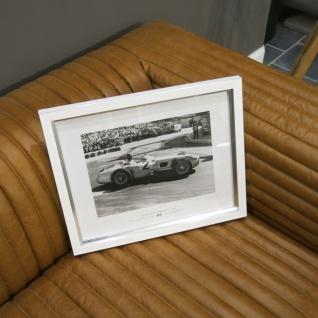 Weißer Rahmen Monaco Wandbild Fotodruck Mercedes Benz Schwarz weiß 1955 Oldtimer Racing - Vorschau 2