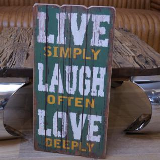 Nostalgie Schild Live Laugh Love Holz MDF Retro Oldschool Shabby Chic