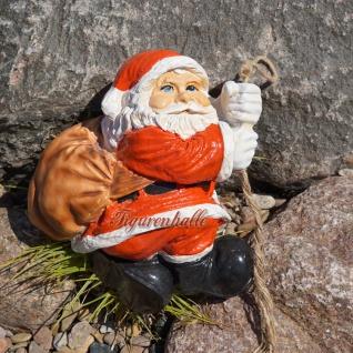 Weihnachtsmann am Seil Figur Statue kletternd Advent Nikolaus
