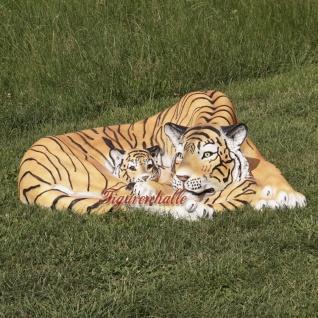 Tiger liegender Position Dekofigur Lebensgroß Tiga Aufstellfigur