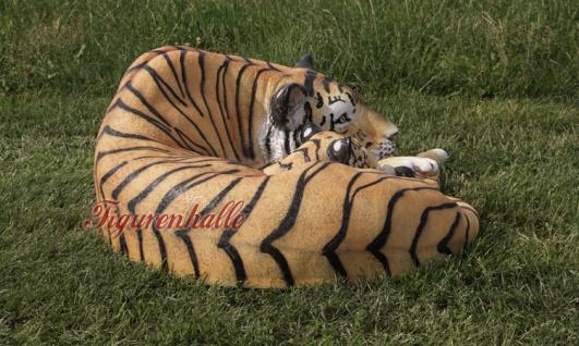 Tiger liegender Position Dekofigur Lebensgroß Tiga Aufstellfigur - Vorschau 4