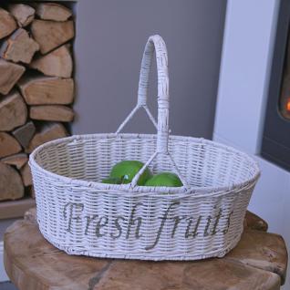 Rattan Obstkorb Früchtekorb mit Henkel und Schrift Fresh Fruits Natur Mission Style
