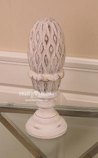 Massivholz Pinienzapfen Deko Figur weiß Antik Dekoration Vintage Charme