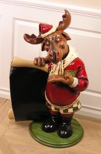 Lustiger Weihnachts Elch mit Tafel Werbefigur Statue Weihnacht Deko