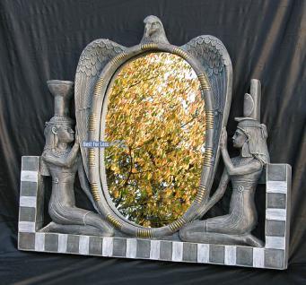 Ägyptischer Stil Spiegel Wandspiegel mit Figur Deko