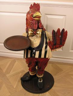 Huhn Dekofigur Butler Menütafel Gastronomie Werbefigur Figur