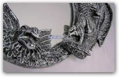 Drachen Spiegel im Gothic Style Figur Statue Deko - Vorschau 4