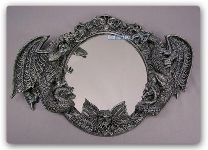 Drachen Spiegel im Gothic Style Figur Statue Deko - Vorschau 1