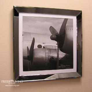 Wandbild Propellermaschine schwarz weiß mit Spiegelrahmen