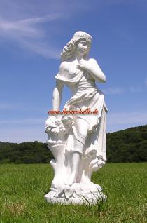 Frau mit Korb weiß Figur Deko Gartenfigur Skulptur