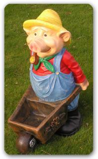 Schwein Lustiges Figur Hut Schubkarre Gartenfigur