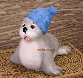 Pudelmütze Seehund Robbe Figur Maritime Gartenfigur Statue Sylt Deko