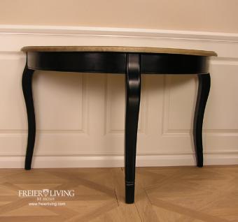 Halbrunder Wandtisch Beistelltisch schwarz Dackelfüsse Biedermeier Nostalgie Stil - Vorschau 2