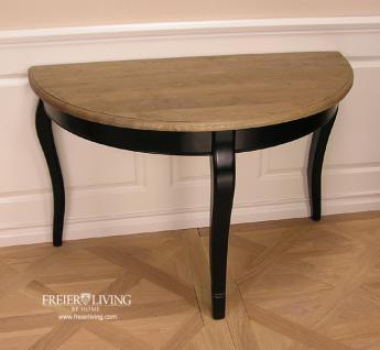 Halbrunder Wandtisch Beistelltisch schwarz Dackelfüsse Biedermeier Nostalgie Stil