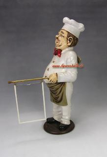 Koch mit Werbetafel oder Menütafel Verkaufstresen Ladentheke