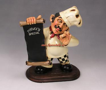 Italienischer Pastakoch mit Tafel Koch Figur Statue