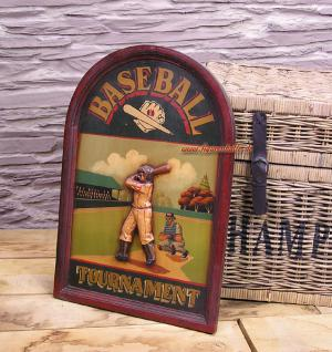 Antik Baseball Schild Wandbild Deko Holz Nostalgie Sport Bar - Vorschau 1