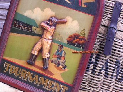 Antik Baseball Schild Wandbild Deko Holz Nostalgie Sport Bar - Vorschau 2