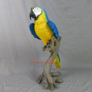 blauer Papagei Figur Dekoration Palme Deko Statue