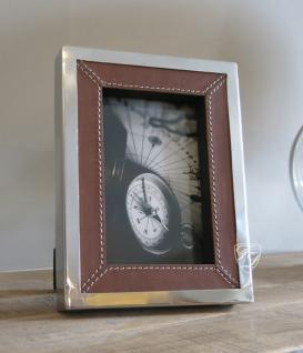 Tisch Bilderrahmen mit Ledereinfassung Deko Maritim