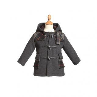 Kinderjacke Dufflecoat Grau Wolle Gr 4 (ca. 104-110)