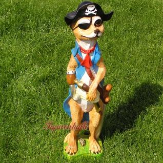 Erdmännchen als Pirat Dekofigur und Statue Figur Garten Maritim