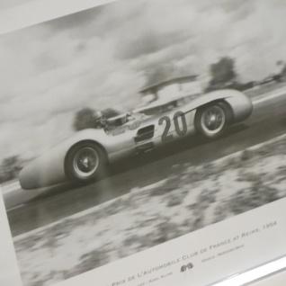 Rahmen weiß Wandbild Fotodruck Mercedes Benz Schwarz weiß 1955 Oldtimer Racing - Vorschau 3