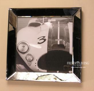 Cobra Wandbild im Spiegelrahmen in schwarz weiß Kunstdruck