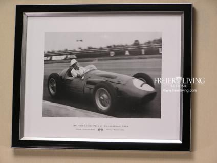 Kunstdruck Rennwagen Maserati 250 Wandbild schwarz weiß Foto