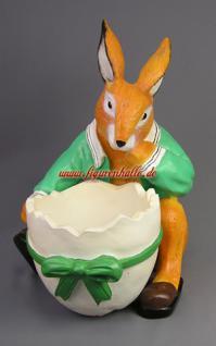 Osterhase Hase mit Ei Figur Dekoration Ostern Statue Deko