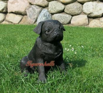 Schwarzer Mops Figur Statue Skulptur Freund Hunde Geschenkidee Deko