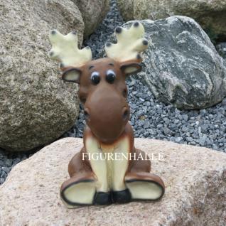 Lustiger kleiner Elch sitzend Figur Statue Gartendeko Dekofigur Deko