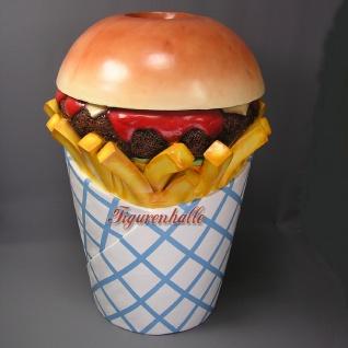 Hamburger Pommes Tüte Werbfigur Mülleimer Figur