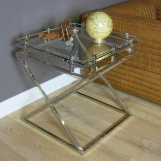 Lampentisch Beistelltisch X Fuß Metall Glasplatte Glastisch Home Interiors