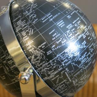Globus schwarz auf Standfuß Aluminium Deko Büro Antik Art Deco - Vorschau 2