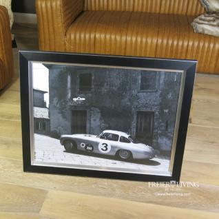 OldtimerMercedes SL Autorennen Wandbild Poster Druck schwarz weiß