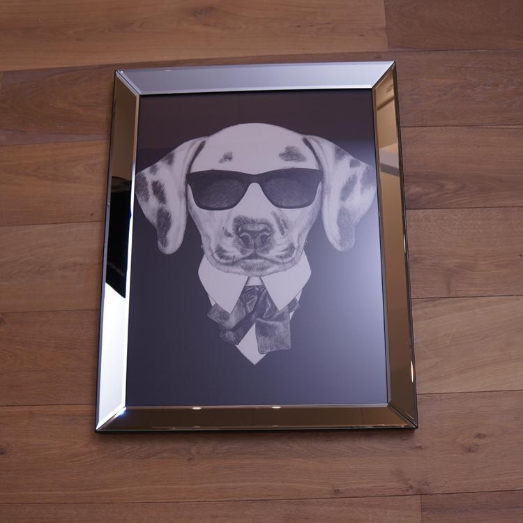 Hund mit Sonnenbrille Wandbild Spiegelrahmen Fotografie - Kaufen bei ...