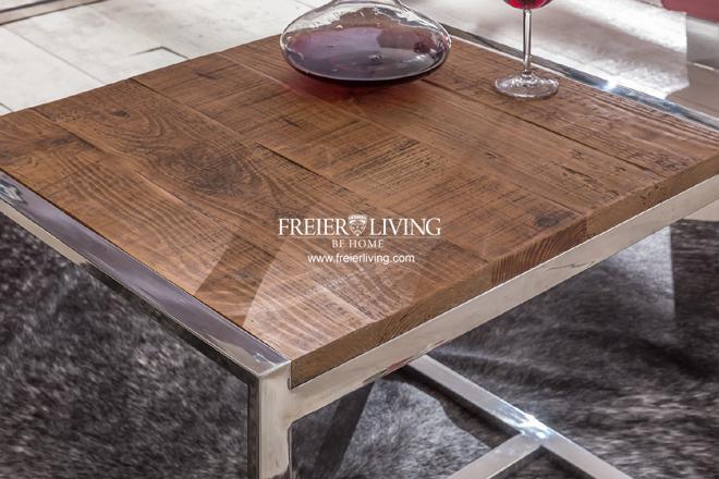 designer beistelltisch aus chrom mit altem antik holz modern deko kaufen bei helga freier. Black Bedroom Furniture Sets. Home Design Ideas