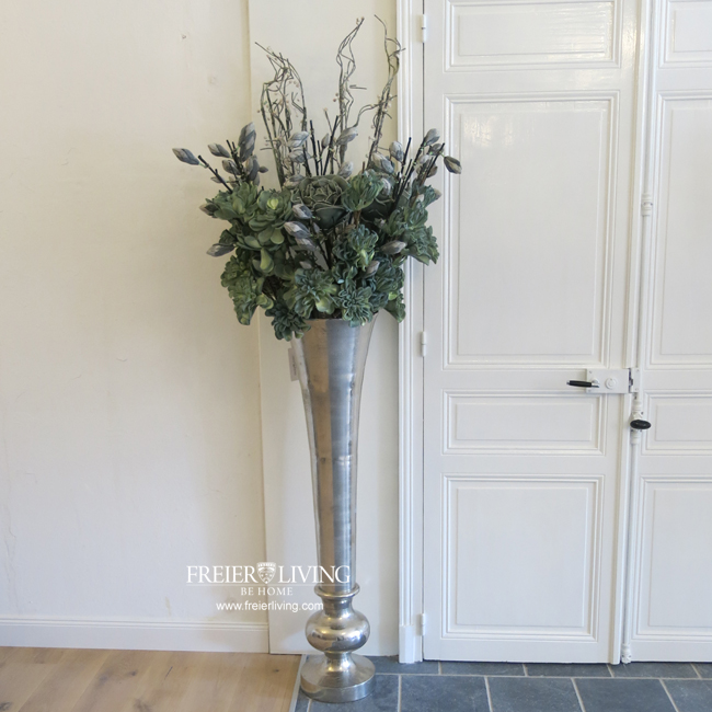 Bodenvase ca 135 cm gro e aluminum vase gef s impressionen for Silber deko wohnzimmer