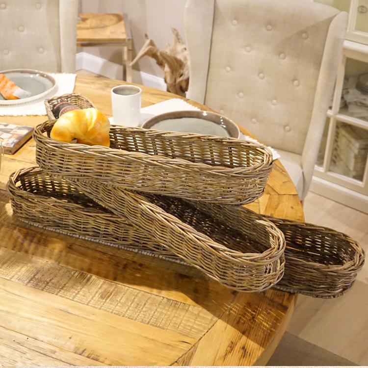 Rattan Tablett Natur Vintage Baguettekorb Esszimmer Deko Landhaus